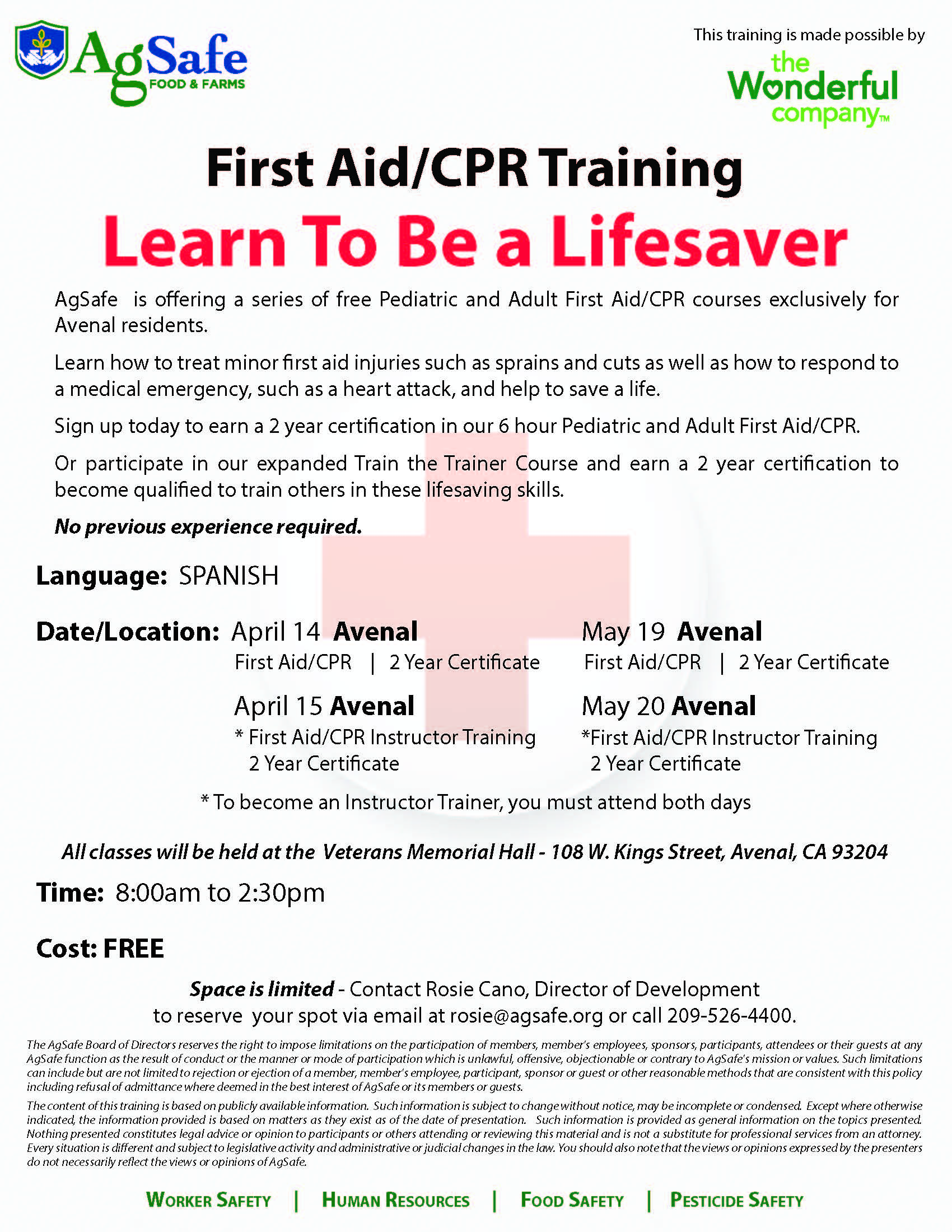 Avenal First Aid Flyer_English