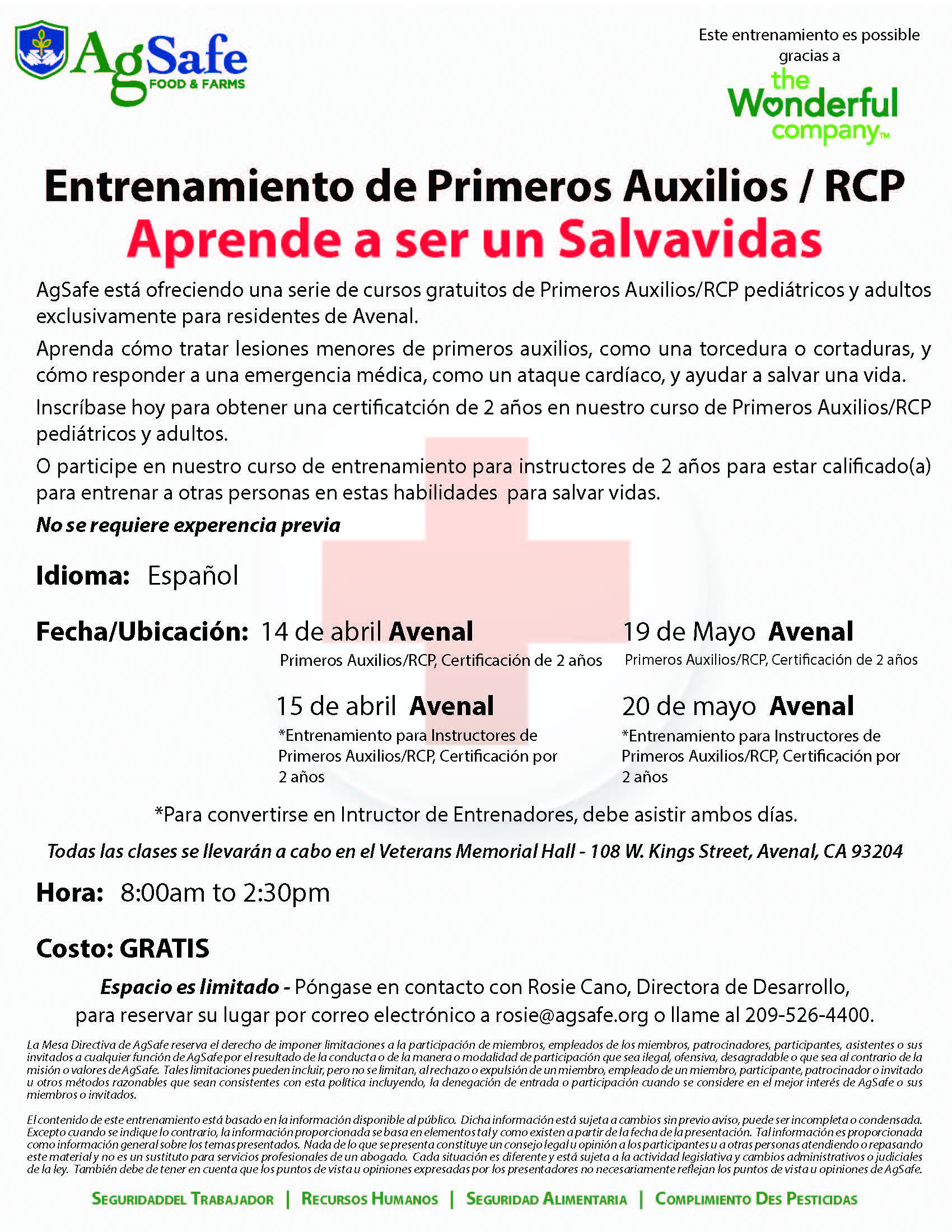 Avenal First Aid Flyer_Spanish