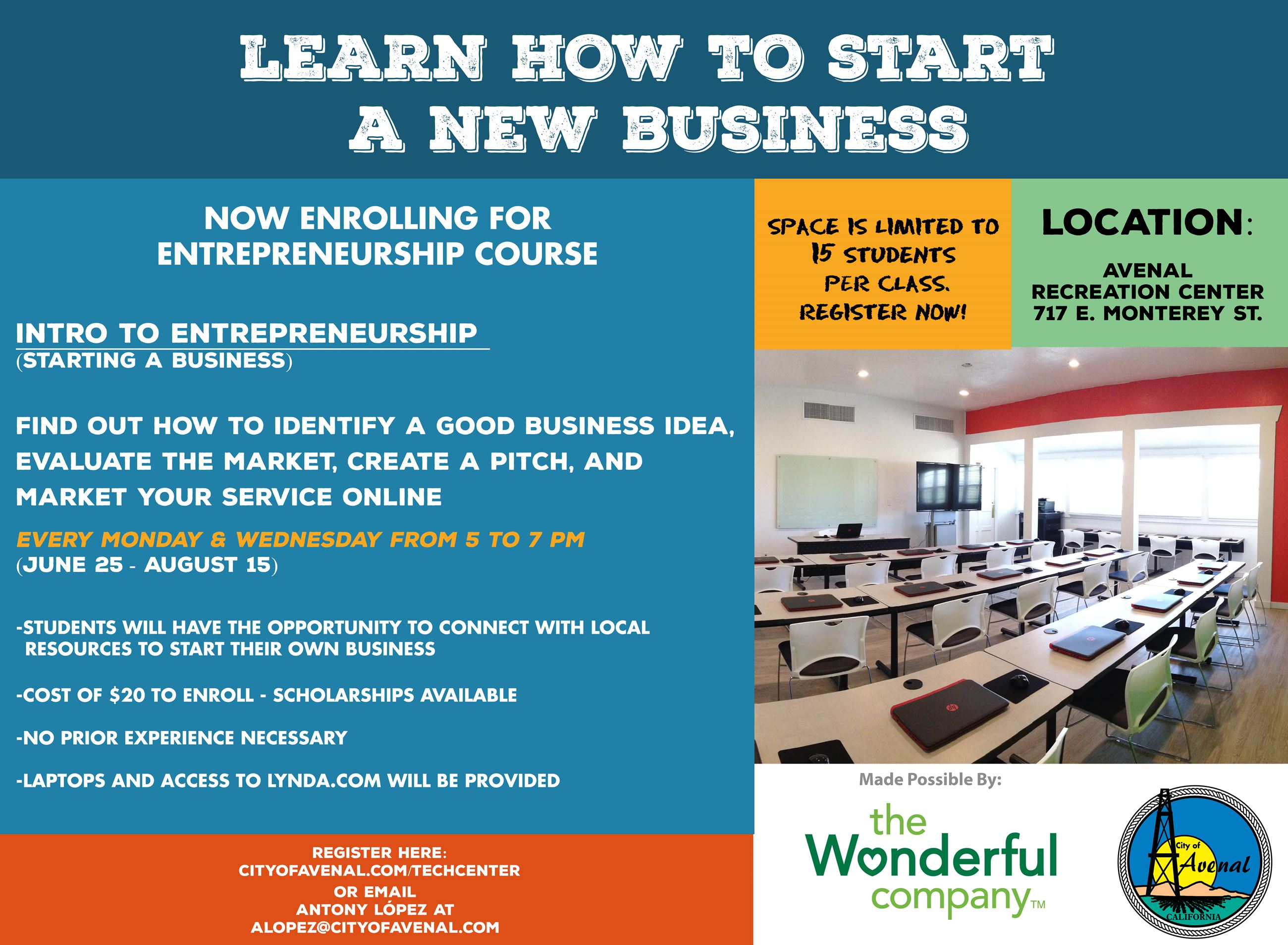 Flier, Intro Entrepreneurship Summer 2018
