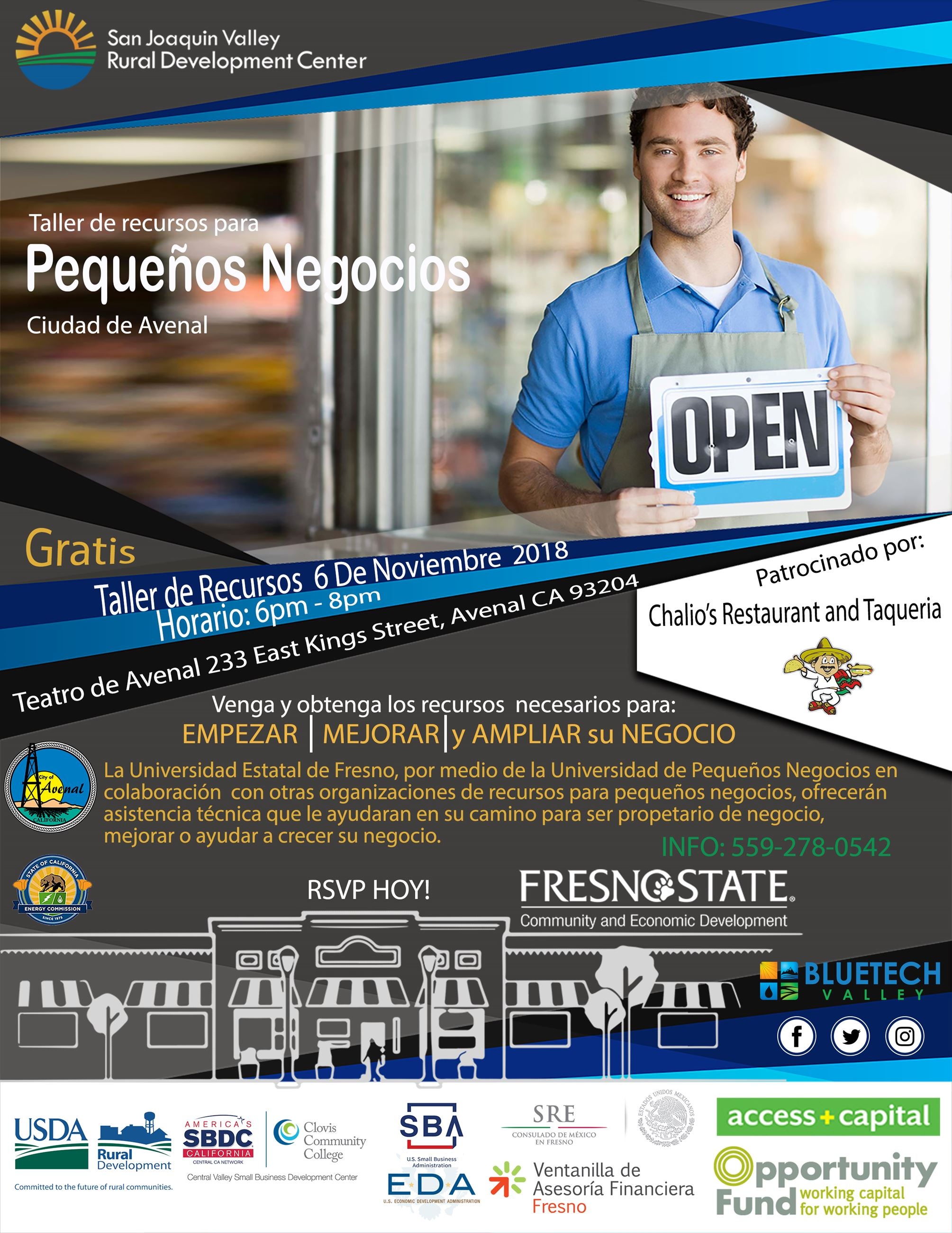 Spanish Flyer of Small Business Resources Workshop