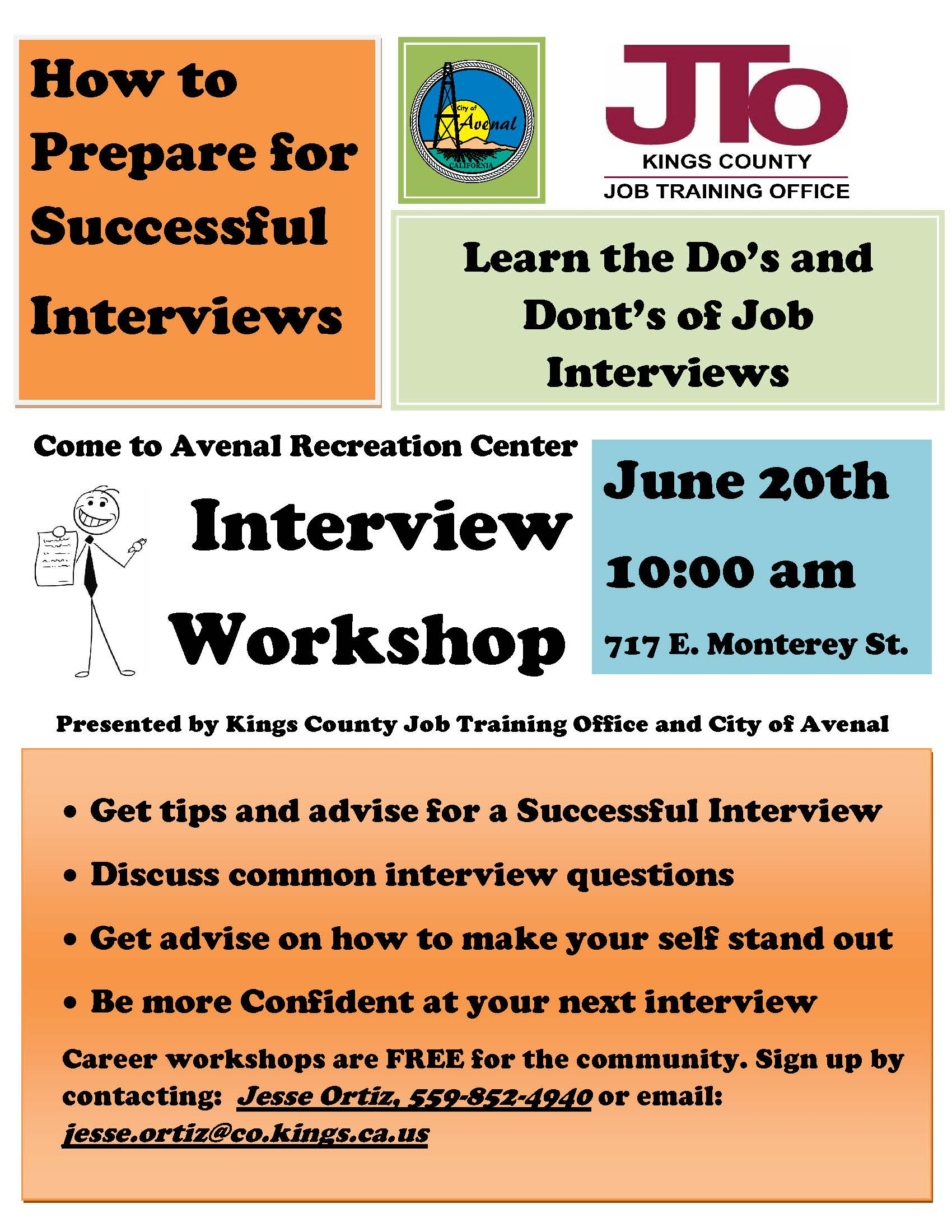 Avenal Interview Workshop Flyer